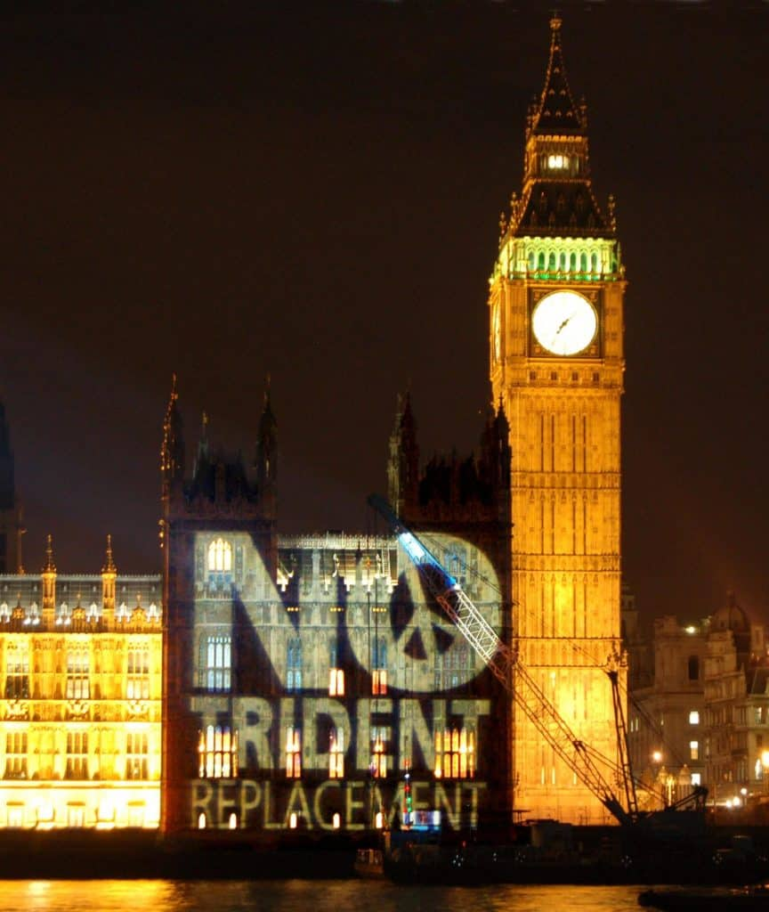 The message 'no Trident replacement' projected onto the side of the House of Commons