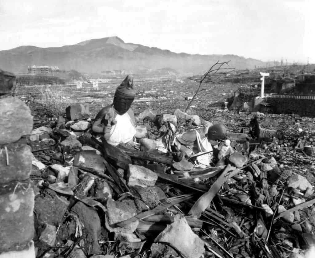 A temple in Nagasaki destroyed by an atomic bomb