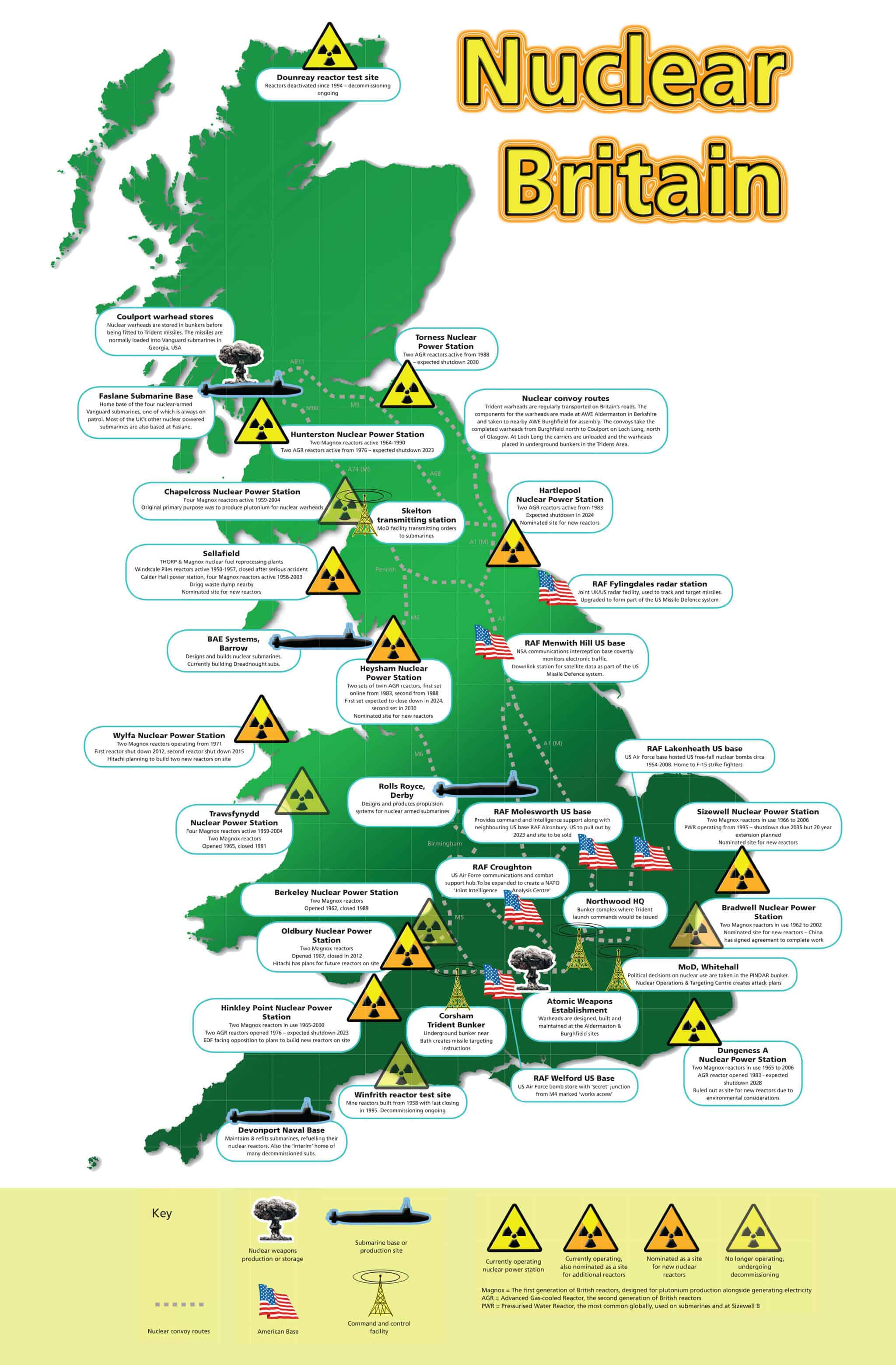 Map 9f England.Nuclear Britain Map Campaign For Nuclear Disarmament