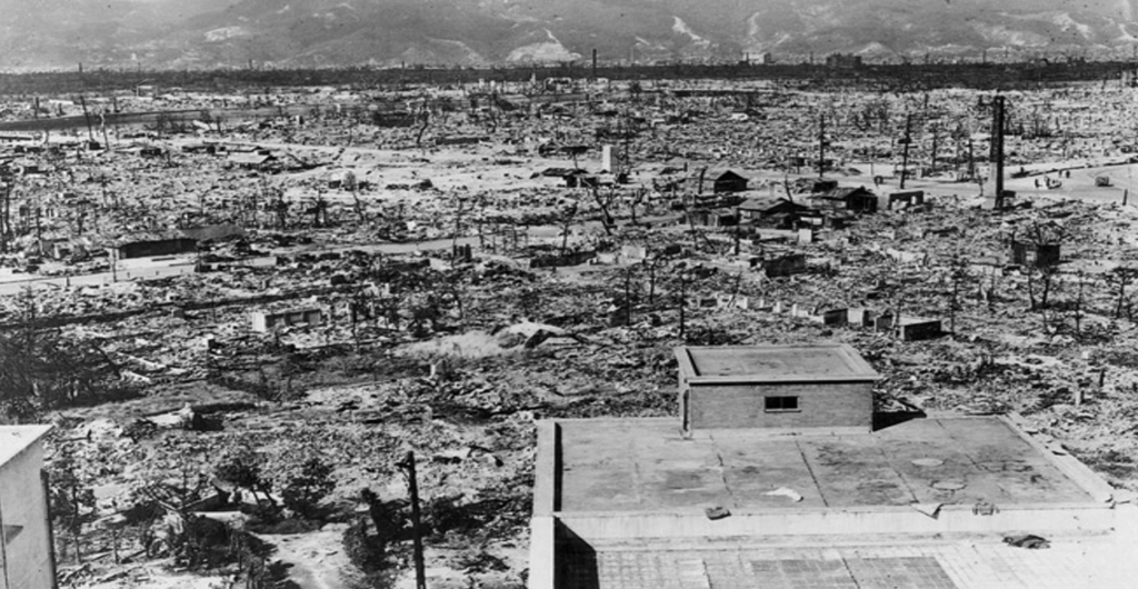 The Japanese city of Hiroshima after it was devastated by an atomic bomb