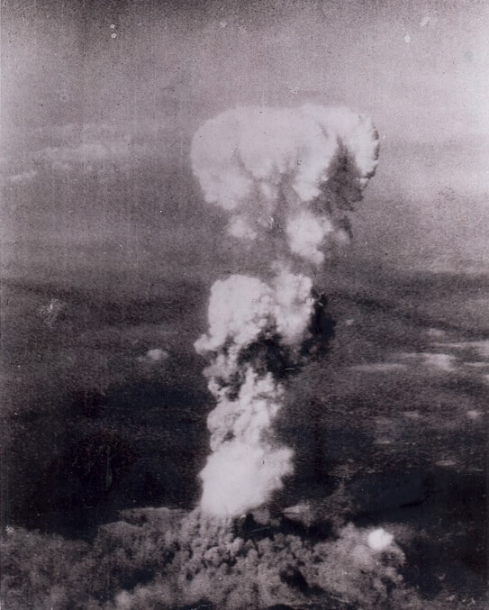 A mushroom cloud over Hiroshima
