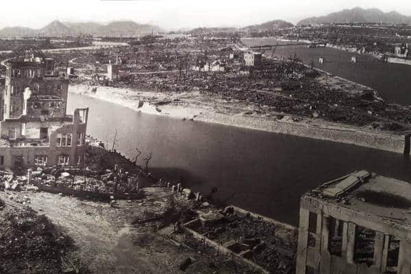 The city of Hiroshima devastated by a nuclear bomb