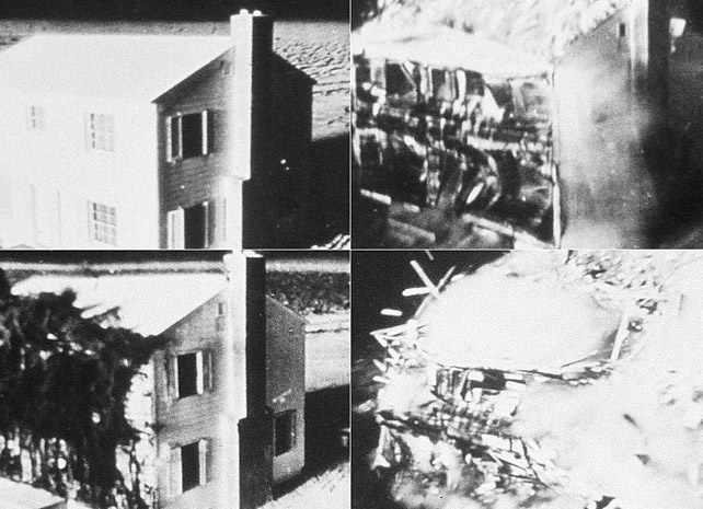 The effects of a nuclear weapon on a house: before and after the impact.