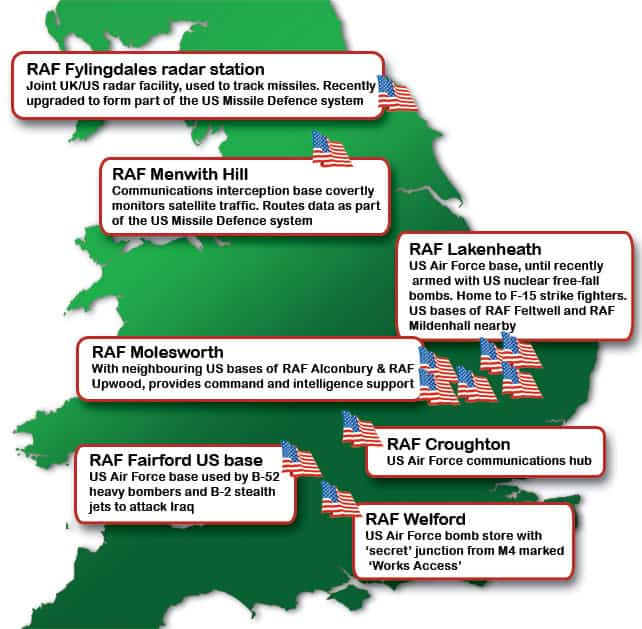 Air Force Bases In England Map.Us Bases In Uk Map Campaign For Nuclear Disarmament