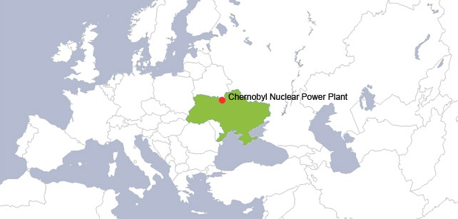 Map showing the location of the Chernobyl Nuclear Power Plant near the town of Pripyat in modern-day Ukraine