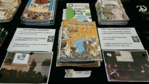 Our free teaching packs on display at the NEU (NUT Section) conference in 2018